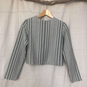 Lonely Two-Legged Creature Striped Cropped Top